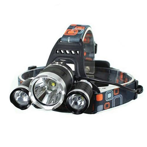 3*LED 10W 3-Mode 5000LM White Light Headlamp Black