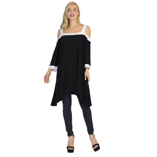 Women's 3/4 Sleeve Shirt Top Cold Shoulder T-Shirt Blouses Tops and Shirts