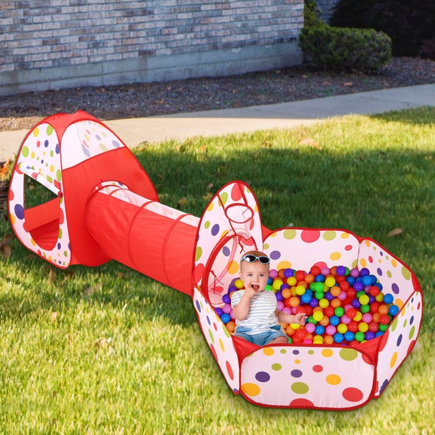 3 In 1 Child Crawl Tunnel Tent Kids Play Tent Ball Pit Set