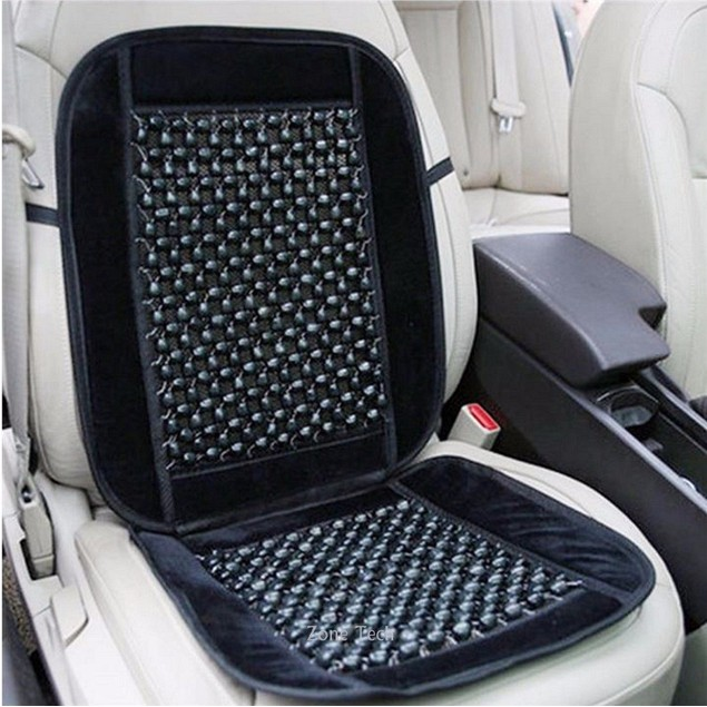 Zone Tech Bamboo Wooden Beaded Seat Massage Cushion Office Chair Car Cover