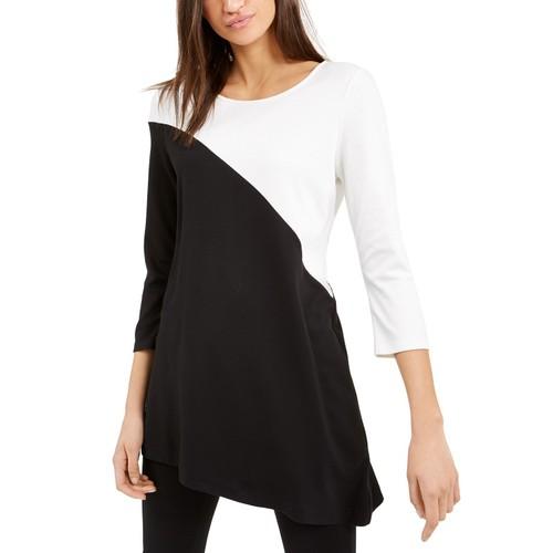 Alfani Women's Petite Colorblock Tunic Black Size Petite