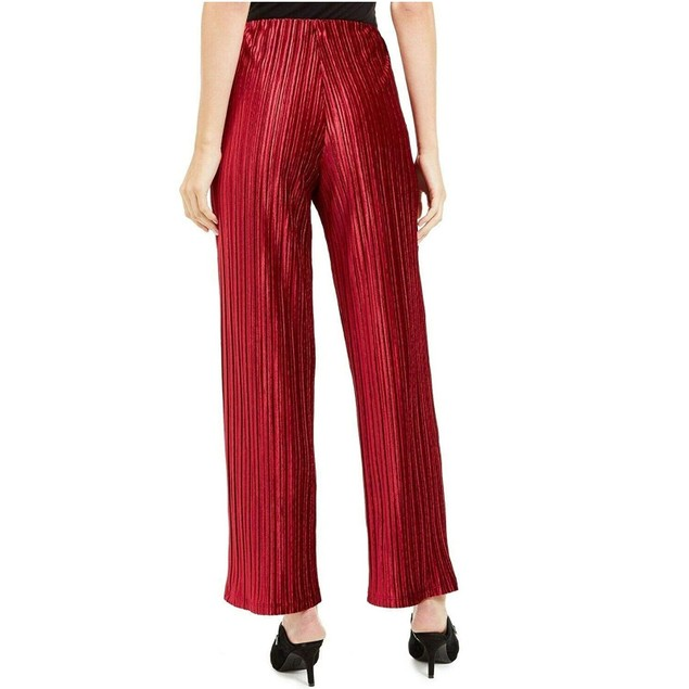 Alfani Women's Velvet Wide-Leg Pants  Wine Size Large