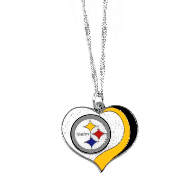 Pittsburgh Steelers NFL Glitter Heart Necklace Charm Gift