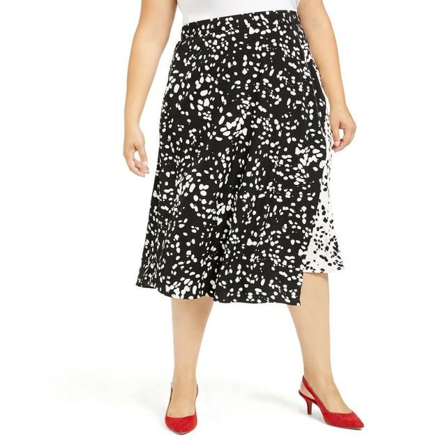 Alfani Women's Printed Midi Skirt Black Size 20