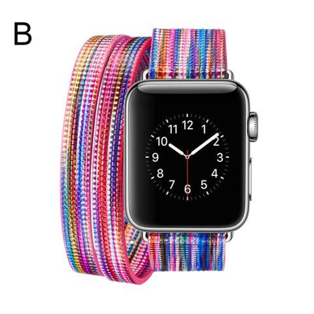 iPM Leather Double Wrap Apple Watch Band Strap with Fun Colors