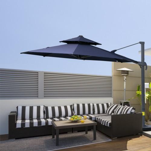 Outside Sunlight Blocker Canopy Cover Crank Umbrella Stand Double-Top
