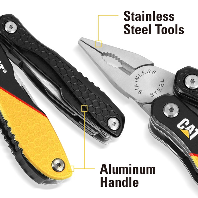 CAT 13-in-1 Multi-Tool w/ Black and Yellow Aluminum Handles
