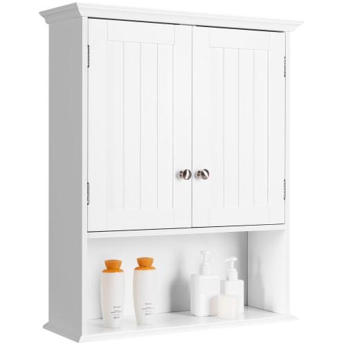 Costway Wall Mount Bathroom Cabinet Storage Organizer Medicine Cabinet Whit
