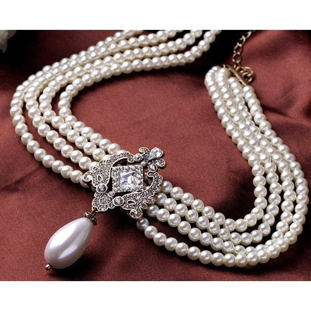 Novadab Elite Brooch Styled Multilayered Beaded Necklace