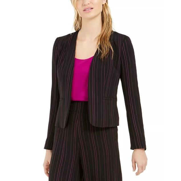 Bar III Women's Striped Open-Front Jacket Black Size Medium