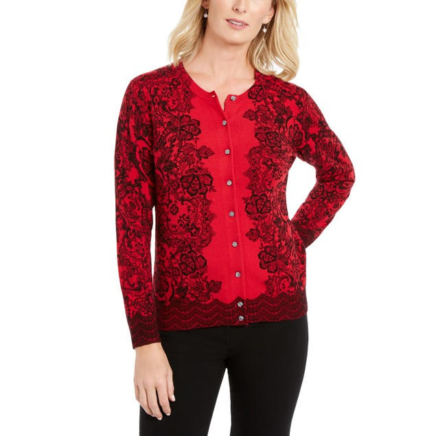 Karen Scott Women's Lace-Print Cardigan Red Size Large