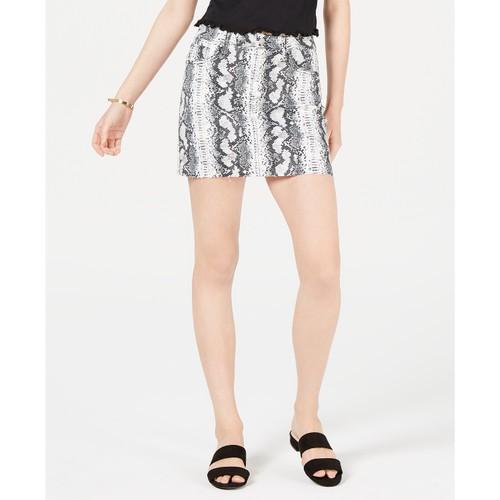 Tinseltown Juniors' Snake-Embossed Denim Mini Skirt Black Size 15