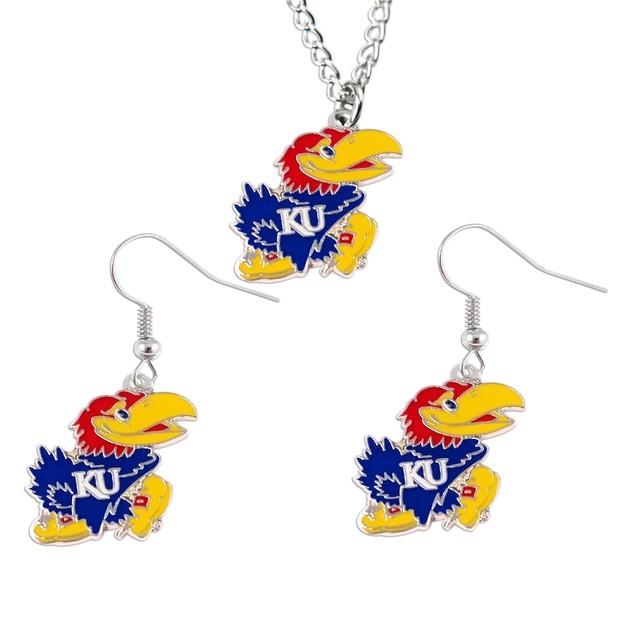 Kansas Jayhawks NCAA Necklace And Dangle Earring Set Charm