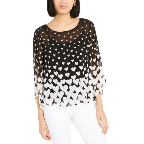 Alfani Women's Heart-Print Angel-Sleeve Top  Black Size Large