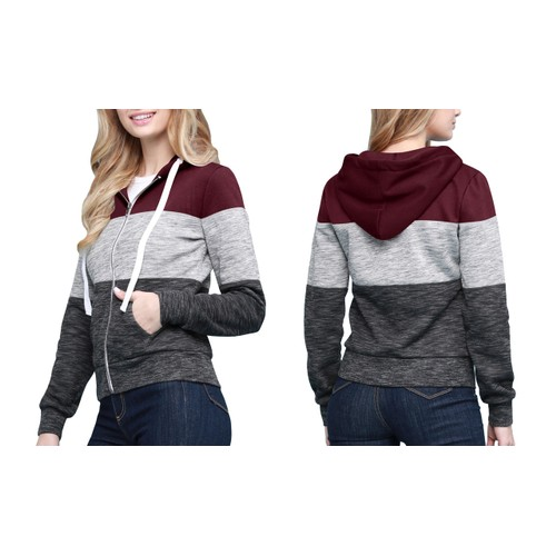 Made By Johnny Women's Active Casual Zip-up Color Block Hoodie Sweatshirt