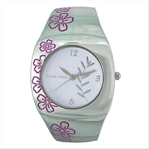 Charles Delon Women's Watches 5163 LPWP Silver/Flowers Pink/Silver Quartz Round