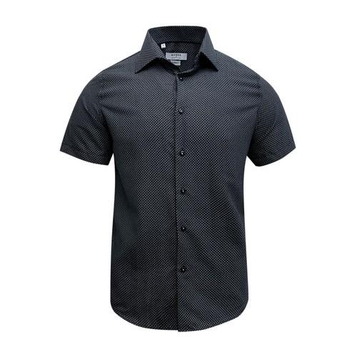 Monza Modern Fit Short Sleeve Navy Houndstooth Dress Shirt