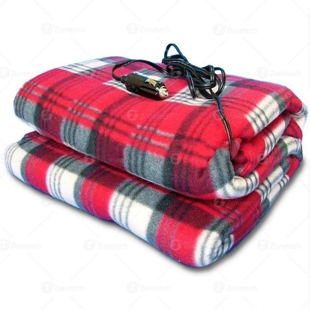 Zone Tech Car Heated Polar Fleece Red Plaid Throw Travel Electric Blanket