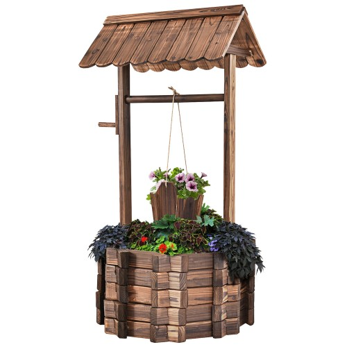 Costway Outdoor Wooden Wishing Well Bucket Flower Plants Planter Patio Gard
