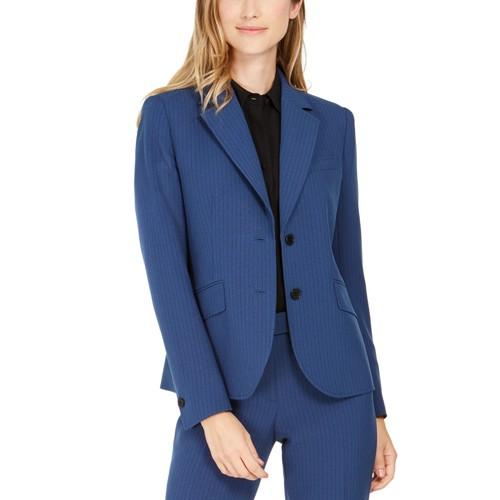 Anne Klein Women's Pinstriped Blazer Dark Blue Size 8