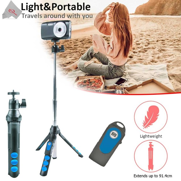 Vivitar 7-in-1 Streaming Essentials Selfie Tripod Selfie Stick with Wireless Remote for Smartphones Cameras and GoPro
