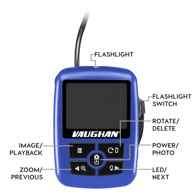 Vaughan Digital Borescope Inspection Camera, 2.3 in. Color LCD - 240041