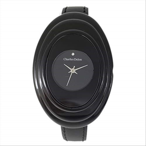 Charles Delon Women's Watches 4393 LBBB Black/Black Leather Quartz Oval Analog
