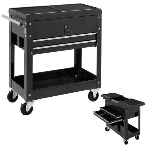 Costway Rolling Mechanics Tool Cart Slide Top Utility Storage Cabinet Organ