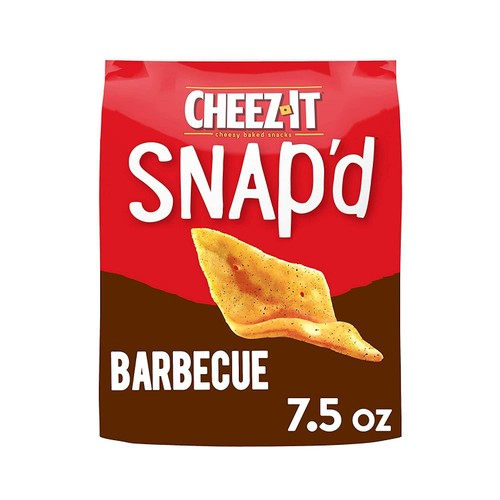 Cheez It Snap'd Barbecue 100% Real Cheese Thin and Crispy Baked Snacks, 7.5