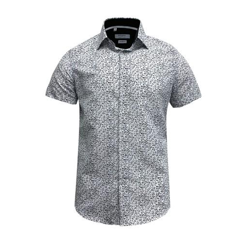 Monza Modern Fit Short Sleeve White Navy Floral Dress Shirt