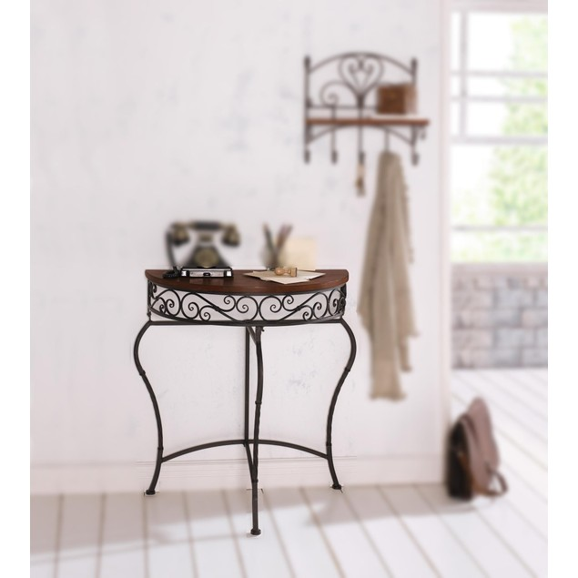 Boston Metal Half Moon Console Table w/ Wood Top, Scroll Accent, Dark Brown