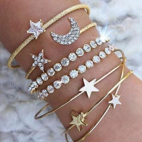 Four-piece Diamond-studded Star And Moon Open Bracelet