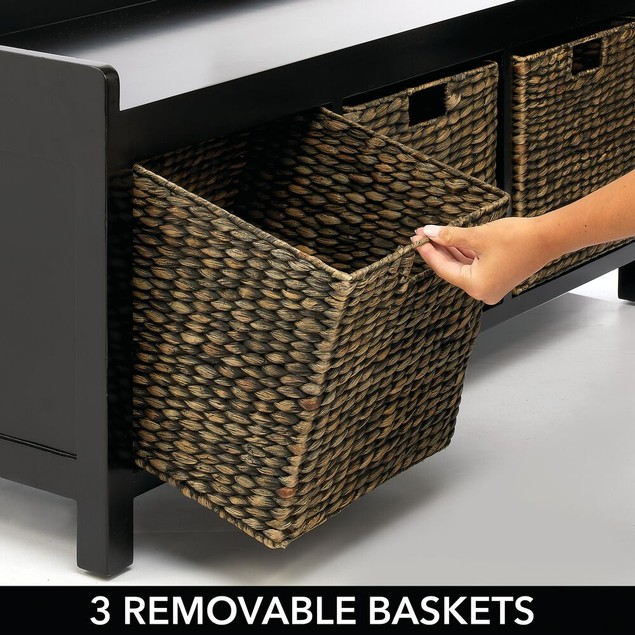 mDesign Entryway Bench with Natural Hyacinth Bin Baskets