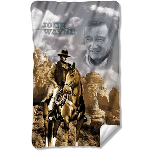 "John Wayne Throw Blanket Duke Cowboy Movie Star Fleece Cow Boy 36"" x 60"""