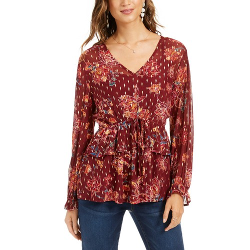Style & Co Women's Printed Drawstring-Waist Top Red Size Large