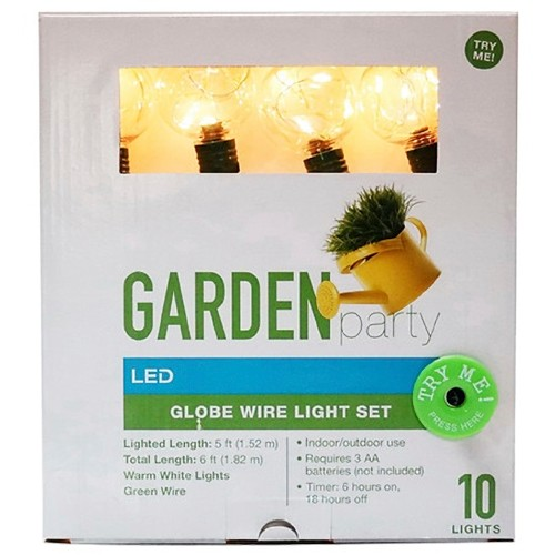 Garden Party LED G40 Globe Wire Light Set for Indoor/Outdoor Use, 10 Count