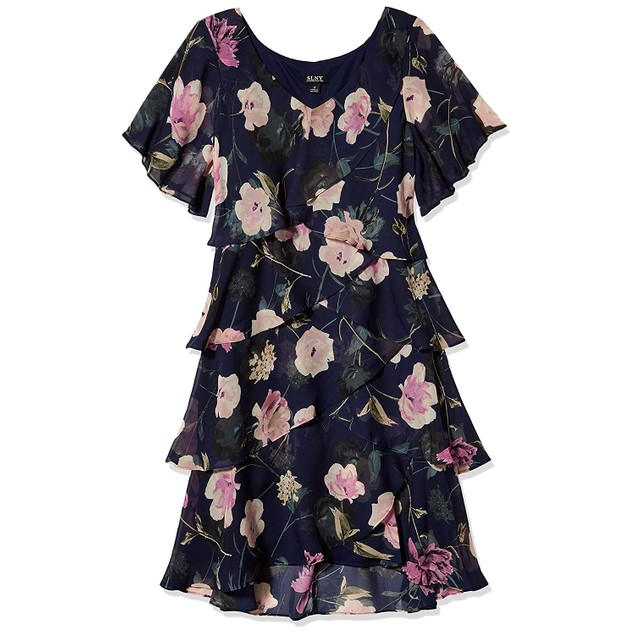 S.L. Fashions Women's Sleeveless Floral Print Tiered Shift Dress, 8,
