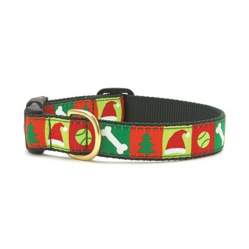 """Up Country- Christmas List Style Dog Collar-Large (15-21""""); Wide 1"""""""