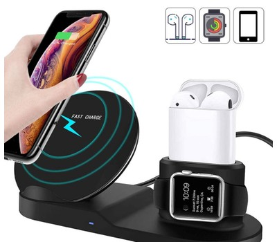 3 in 1 Wireless Charging Stand for iPhone/Samsung, AirPods, and Apple Watch Was: $39.97 Now: $14.99.