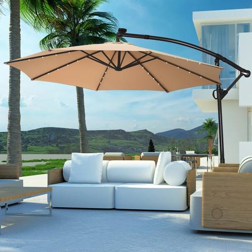Costway 10FT Patio Umbrella Solar Powered LED 360degrees Rotation Beige