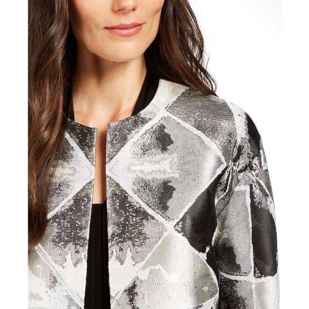 Anne Klein Women's Metallic Open-Front Jacket Gray Size X-Large