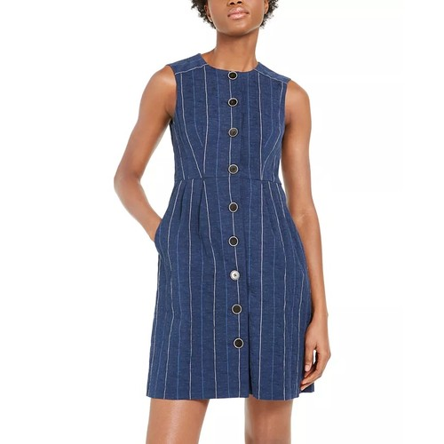 Nanette Lepore Women's Striped Denim Sheath Dress Blue Size 6