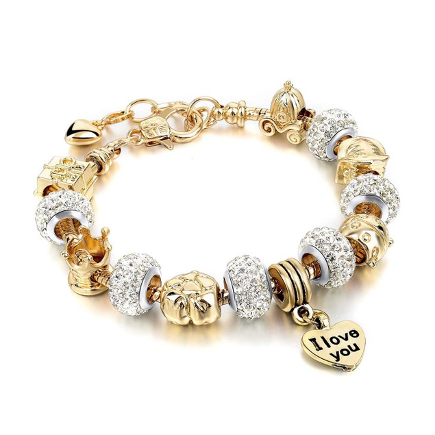 "Gold Austrian Crystal "" I Love You"" Charm Bracelet"