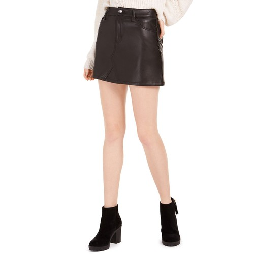 Rewash Juniors' Faux Leather Mini Skirt Black Size 7