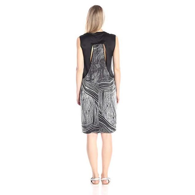 Helmut Lang Women's Method Print Silk Shift Dress, Black/Multi, Petite