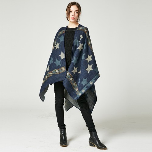Ladies Star Color Stripe Thick And Versatile Shawl