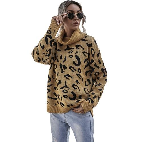 Women's Split Leopard Print Lapel Sweater
