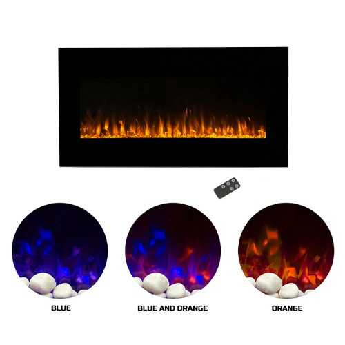 Electric Fireplace-Wall Mounted with LED Fire and Ice Flame