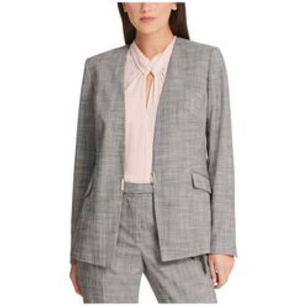 DKNY Women's Plaid Collarless Blazer Gray Size 10