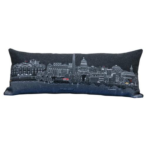 Spura Home Washington D.C. Skyline Embroidered Wool  Day/Night Cushion
